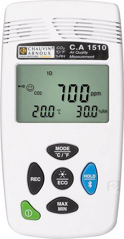 Chauvin Arnoux CA1510W Indicateur de dioxyde de carbone 0 - 5000 ppm avec fonction enregistreur de données