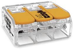 Borne pour boîte de dérivation WAGO 221-613 Nombre total de pôles: 3 transparent, orange flexible: 0.50-6 mm² rigide: 0