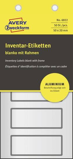 Etiquettes pour inventaire Avery-Zweckform 50 x 20 mm film aluminium argent, noir 50 pc(s) permanente
