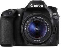Appareil photo reflex numérique Canon EOS 80D avec EF-S 18-55 mm IS STM 24.2 Mill. pixel WiFi, écran pivotable noir