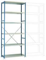 Etagère de basePLANOFLEX 1030 x 2500 x 400 mm avec 6 tablettes 40 RAL5021 bleu d'eau Manuflex RP1318.5021