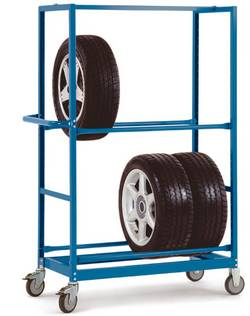 Chariot pour pneus à 2 niveaux pour 4 paires de pneus (au total), 1030 x 1650 x 500 mm, bleu d'eau RAL 5021 Manuflex TV2