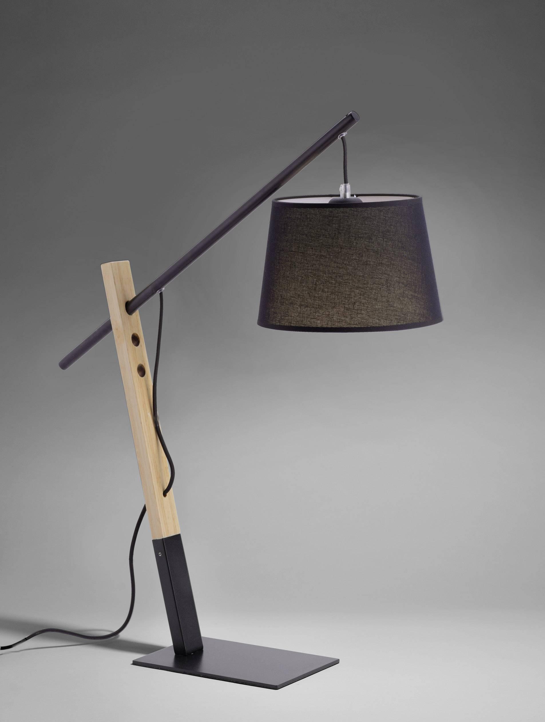 Lampe de bureau Paul Neuhaus KATI 4506 18 Ampoule LED E27 60 W noir, bois 1 pcs   Conrad.fr