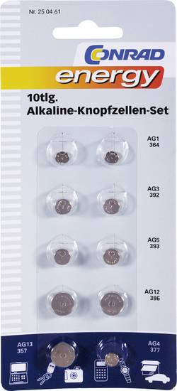 Lot de piles bouton alcaline(s) Conrad energy 250461 10 pc(s)