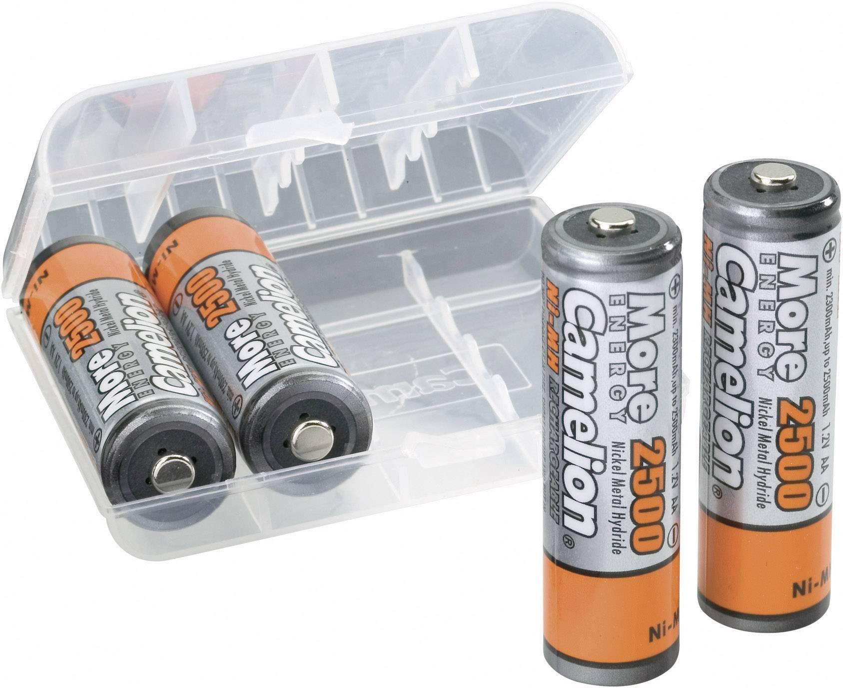 piles rechargeable 2600mah AA Camelion avec étui rangement 4 accus batterie