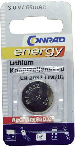 Pile bouton rechargeable lithium 3 V Conrad energy CR2032 65 mAh 1 pc(s)