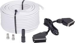 Câble de raccordement BKL Electronic SAT 25 SET [1x F mâle, péritel mâle - 1x F mâle, péritel mâle] 25 m noir, blanc