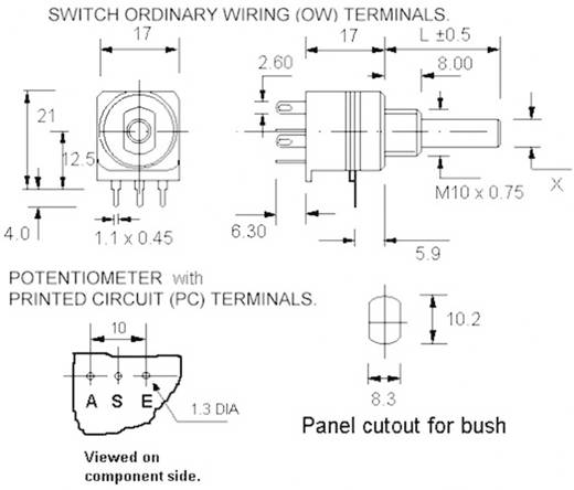 Potentiomètre rotatif avec interrupteur linéaire Potentiometer Service 7517 mono 47 kΩ 1 pc(s)