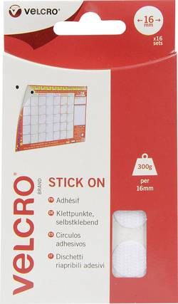 Pastilles rondes auto-agrippantes à coller VELCRO® brand VEL-EC60227 partie velours et partie crochets (Ø) 16 mm blanc 1