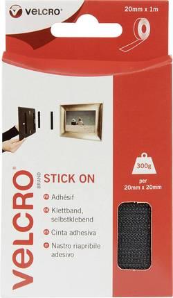 Bande auto-agrippante à coller VELCRO® brand VEL-EC60211 partie velours et partie crochets (L x l) 1000 mm x 20 mm noir