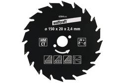 lame de scie circulaire Wolfcraft 6364000 Diamètre: 150 mm Nombre de dents (par pouce): 20