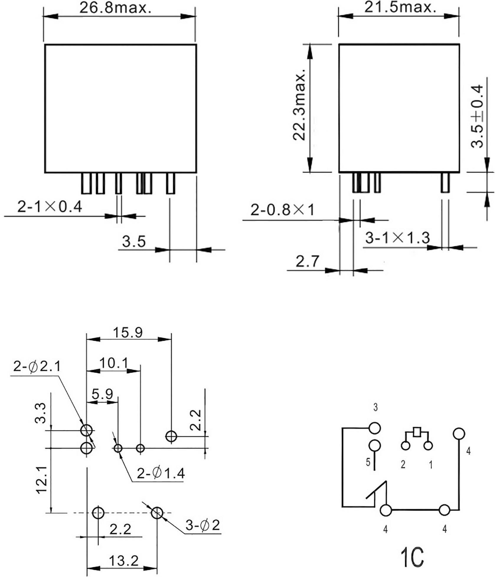 FiC Relais Automobile FRA2C-2-DC12V FRA2C-2-DC12V 12 V//DC 40 A 1 inverseur RT 1 pc s