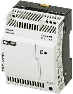 Alimentation rail DIN Phoenix Contact STEP-PS/1AC/12DC/5 2868583 12 V/DC 5 A 60 W 1 x 1 pc(s)
