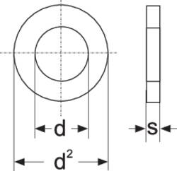 Rondelle TOOLCRAFT A4,3 D125-A2 188710 N/A Ø intérieur: 4.3 mm M4 acier inoxydable A2 100 pc(s)