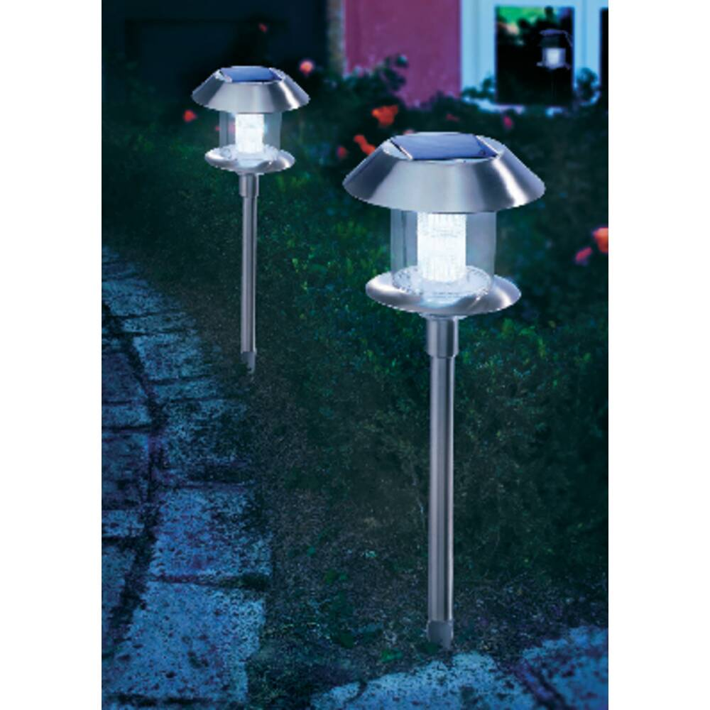 lampe de jardin solaire esotec swing 102070 led blanc chaud blanc lumi re du jour acier. Black Bedroom Furniture Sets. Home Design Ideas