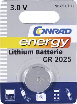 Pile bouton CR 2025 lithium Conrad energy 140 mAh 3 V 1 pc(s)