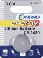 Pile bouton CR 2430 lithium Conrad energy 270 mAh 3 V 1 pc(s)