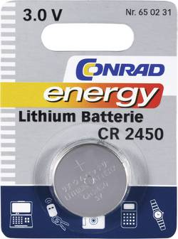 Pile bouton CR 2450 lithium Conrad energy 600 mAh 3 V 1 pièce