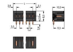 Boîtier mâle (platine) série 734 embase mâle verticale 5 pôles WAGO 734-165/105-604 Pas: 3.50 mm 200 pc(s)