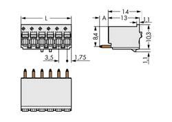 Boîtier mâle (platine) série 2091 WAGO 2091-1175 Barrette mâle droite Nbr total de pôles 5 Pas: 3.50 mm 200 pc(s)