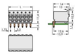 Boîtier mâle (platine) série 2091 WAGO 2091-1372 Barrette mâle coudée Nbr total de pôles 2 Pas: 3.50 mm 200 pc(s)