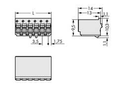 Boîtier mâle (platine) série 2091 Barrette mâle coudée 4 pôles WAGO 2091-1124 Pas: 3.50 mm 200 pièce