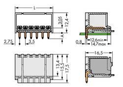 Boîtier mâle (platine) série 2091 embase mâle horizontale 5 pôles WAGO 2091-1425 Pas: 3.50 mm 200 pc(s)