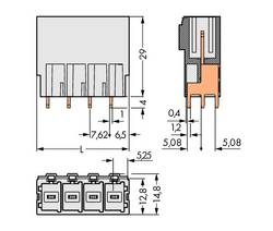 Boîtier mâle (platine) série 831 embase mâle verticale 5 pôles WAGO 831-3605 Pas: 7.62 mm 24 pc(s)