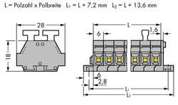 Barrettes à bornes WAGO 261-424/341-000 6 mm ressort de traction Affectation des prises: L gris 50 pc(s)