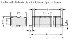 Bornier WAGO 264-236 10 mm ressort de traction Affectation des prises: L gris 50 pc(s)