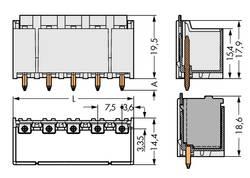 Boîtier mâle (platine) série 2092 embase mâle verticale 4 pôles WAGO 2092-3404 Pas: 7.50 mm 100 pc(s)