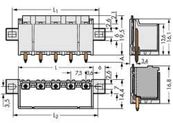 Boîtier mâle (platine) série 2092 embase mâle verticale 4 pôles WAGO 2092-3404/005-000 Pas: 7.50 mm 100 pc(s)