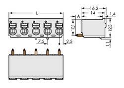 Boîtier mâle (platine) série 2092 Barrette mâle droite 2 pôles WAGO 2092-3172 Pas: 7.50 mm 100 pc(s)