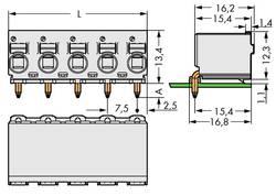Boîtier femelle (platine) série 2092 WAGO 2092-3372 embase femelle, verticale Nbr total de pôles 2 Pas: 7.50 mm 100 pc(s