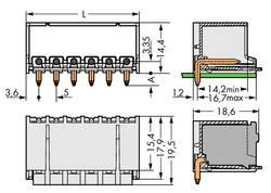 Boîtier mâle (platine) série 2092 embase mâle horizontale 4 pôles WAGO 2092-1424 Pas: 5 mm 200 pc(s)