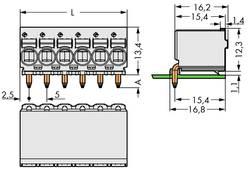 Boîtier mâle (platine) série 2092 WAGO 2092-1382 Barrette mâle coudée Nbr total de pôles 12 Pas: 5 mm 100 pc(s)