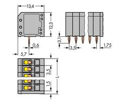 Bornier à ressort WAGO 739-308/100-000 1.50 mm² Nombre total de pôles 8 gris 160 pc(s)