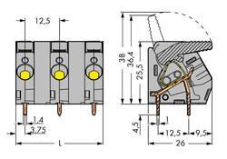 Bornier à ressort WAGO 2706-302 6.00 mm² Nombre total de pôles 2 gris 65 pc(s)