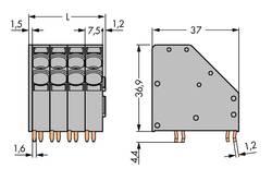 Bornier à ressort WAGO 746-2308 10.00 mm² Nombre total de pôles 8 gris 16 pc(s)