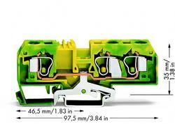 Borne pour conducteur de protection WAGO 284-687/999-950 10 mm ressort de traction Affectation des prises: terre vert-ja