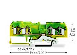 Borne pour conducteur de protection WAGO 281-657/999-950 6 mm ressort de traction Affectation des prises: terre vert-jau