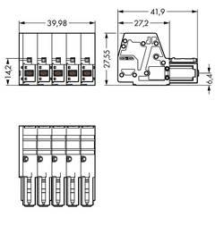 Boîtier pour contacts femelles série 831 femelle, droit 5 pôles WAGO 831-3105/019-004 Pas: 7.62 mm 5 pc(s)