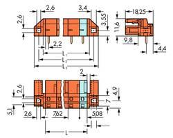 Boîtier femelle (platine) série 232 WAGO 232-864/047-000 embase femelle, verticale Nbr total de pôles 4 Pas: 7.62 mm 50