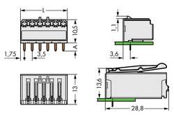 Boîtier mâle (platine) série 2091 Barrette mâle coudée 6 pôles WAGO 2091-1326 Pas: 3.50 mm 100 pc(s)