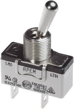 Interrupteur à levier 2 x On/On APEM 646NH/2 250 V/AC 15 A à accrochage 1 pc(s)