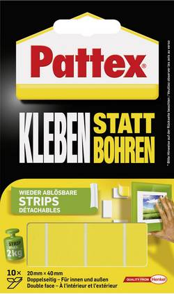Ruban adhésif double-face Pattex PXMS1 (L x l) 40 mm x 20 mm 10 pc(s)