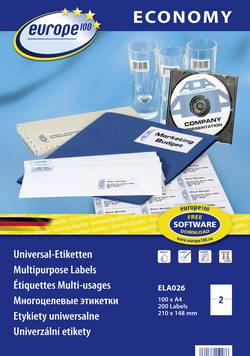 Etiquettes universelles Europe 100 ELA026 210 x 148.5 mm papier blanc 200 pc(s) permanente