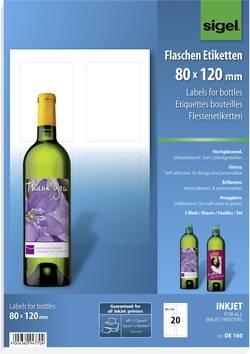 Etiquettes pour bouteilles jet d'encre Sigel DE160 80 x 120 mm permanente 20 pc(s)