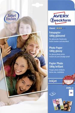 Papier photo Avery-Zweckform Classic Photo Paper Inkjet DIN A4 180 g/m² 50 feuille(s) brillant