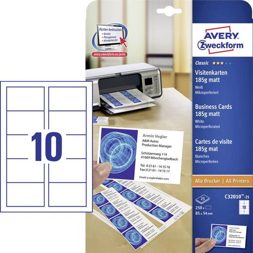 Cartes De Visite Imprimables Microperfores Avery Zweckform C32010 25 85 X 54 Mm Blanc 250